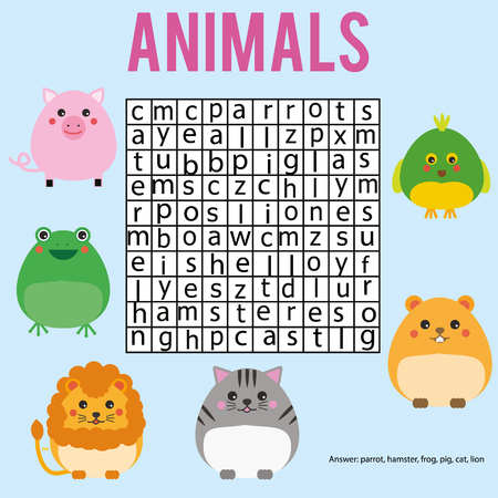 Educational children game. Word search puzzle kids activity. Animals theme. Learning vocabulary. Worksheet Illustration