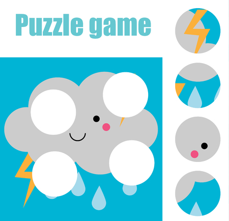Matching children educational game. Match pieces and complete the picture with butterfly. Puzzle kids activity. weather theme