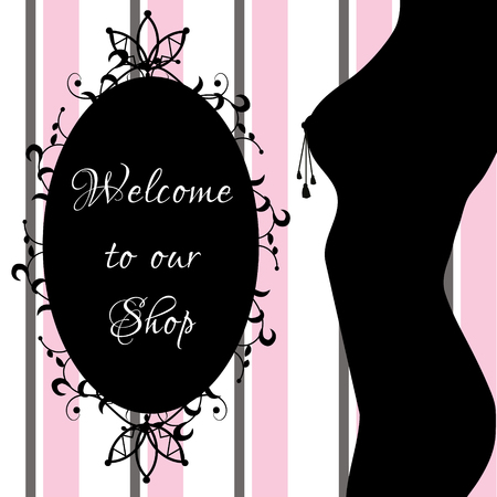 セックス ショップのバナー、官能的なセクシーな梨花背景ボディ シルエットと装飾的なフレーム  イラスト・ベクター素材
