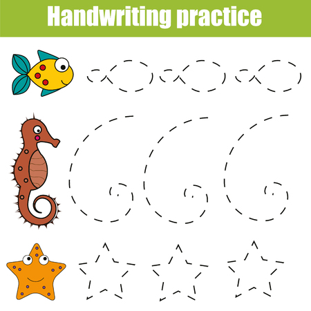 Handwriting practice sheet. Educational children game, restore the dashed line. Writing training printable worksheet with with shapes and sea animals