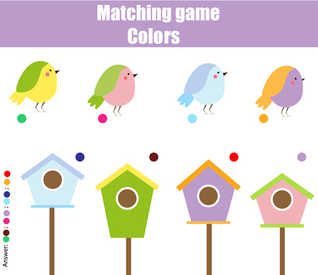 springtime: Educational children game. Matching game worksheet for kids. Match by color. Find pairs of birds and birdhouse. Learning colors, animals theme Illustration