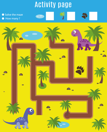 Activity page for kids. Educational game. Maze and counting game. Help dinosaurs meet. Fun for preschool years children. Fun for preschool years children. Learning mathematics Vectores