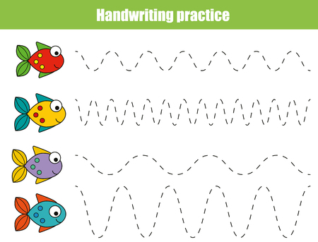 Handwriting practice sheet. Educational children game, restore the dashed line. Writing training printable worksheet with with wavy lines and fish