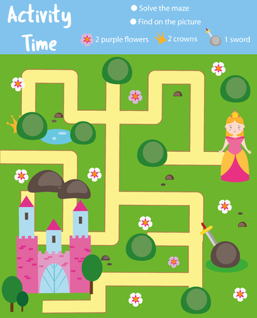Activity page for kids. Educational game. Maze and find objects theme. Fairy tales theme. Help princess go through the labyrinth and find castle. Fun for preschool years children Illustration