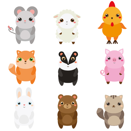 Cute animals. Children style, isolated design elements. Cartoon kawaii wildlife and farm animals. Mouse, fox, badger, rabbit and other. Vector illustration Illustration