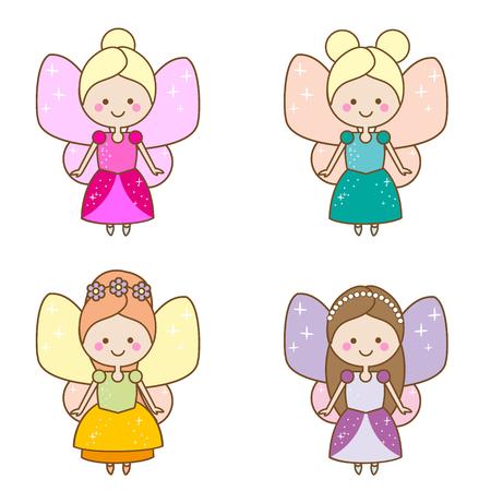 Cute kawaii fairies characters. Winged pixie princess in beautiful dresses. Cartoon style, girls kids stickers, children illustration, scrapbook elements