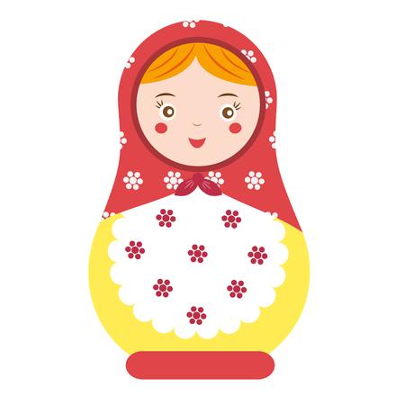 Matryoshka. Traditional russian nesting doll. Smiling Matreshka icon. Vector illustration, clip art Illustration