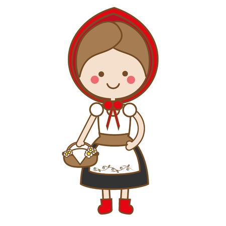 Cute kawaii Red Riding Hood in Cartoon Style. vector illustration. Fairy tale character. Sticker, kids vector illustration