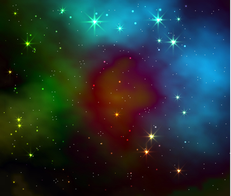 Space galaxy vector background with stars and nebula. Realistic vector illustration
