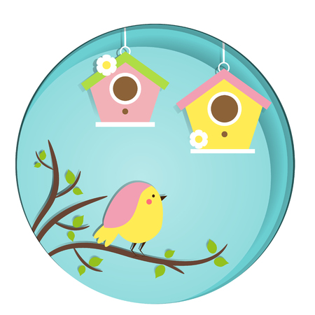 springtime: Cute Bird sitting on tree branch. Birdhouses. Vector banner in paper cut, paper carve, craft style. Postcard, flyer design template