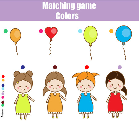 Educational children game. Matching game worksheet for kids. Match by color. Find pairs of girls and balloons. Learning colors theme Vectores