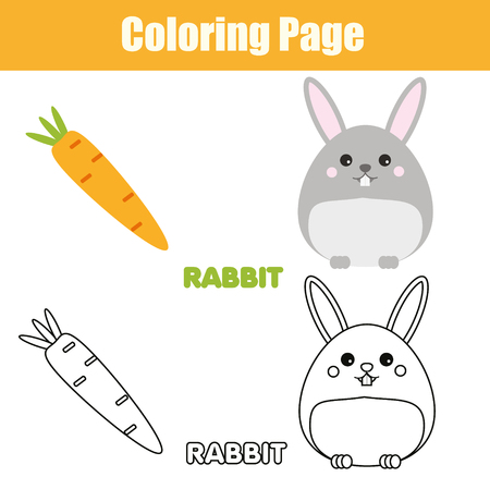 Coloring page with rabbit, bunny character. Color the picture drawing activity. Educational game for pre school aged kids, animals theme. Printable kids activity