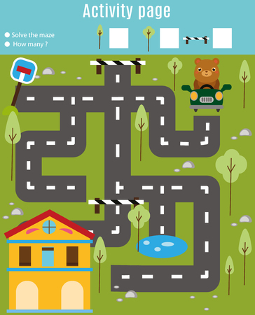 Activity page for kids. Educational game. Maze and find objects theme. Help bear go through the labyrinth and find home. Fun for preschool years children Ilustração