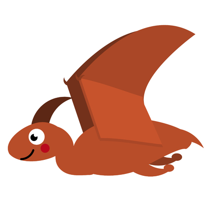 Cute pterodactyl dinosaur. Cartoon dino character. Isolated vector illustration for kids
