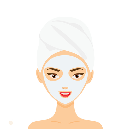 Woman with towel and cosmetic facial mask. Beauty treatment. Vector illustration