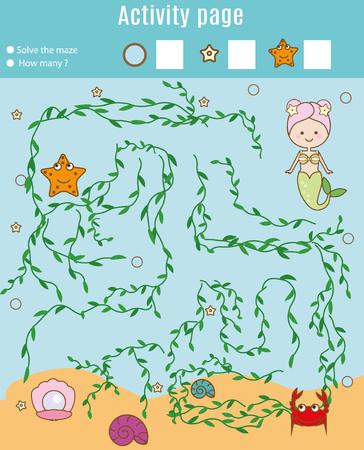 Activiteitspagina voor kinderen. Educatief spel. Maze en tellen spel. Help zeemeermin vind parel. Leuk voor voorschoolse kinderen. Leuk voor voorschoolse kinderen. Wiskunde leren