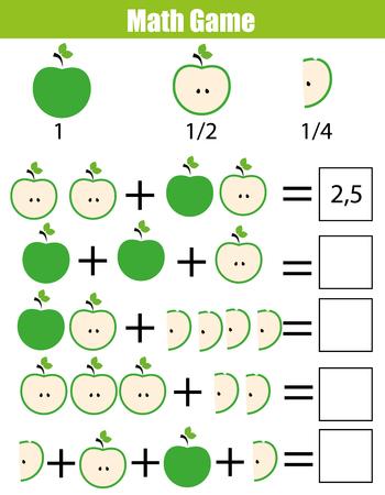 어린이를위한 수학 교육 게임. 학습 계산, 아이들을위한 추가 워크 시트. 분수, 반, 분기