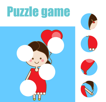 Matching children educational game. Match pieces and complete the picture with butterfly. Puzzle kids activity. Illustration