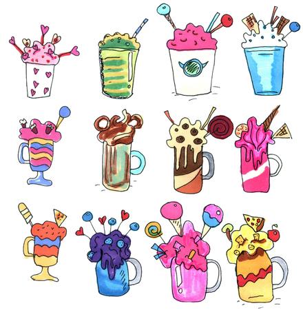 sprinkle: Monstershakes in jars. Big milkshakes hand drawn icons. Isolated design elements for drinks menu