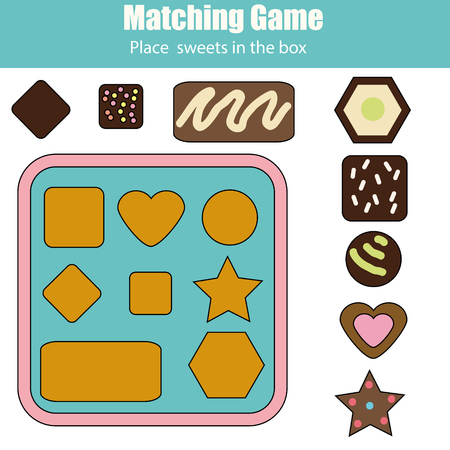 Educational children game. Matching game worksheet for kids. Learning shapes and size activity. Place chocolate sweets in box Illustration