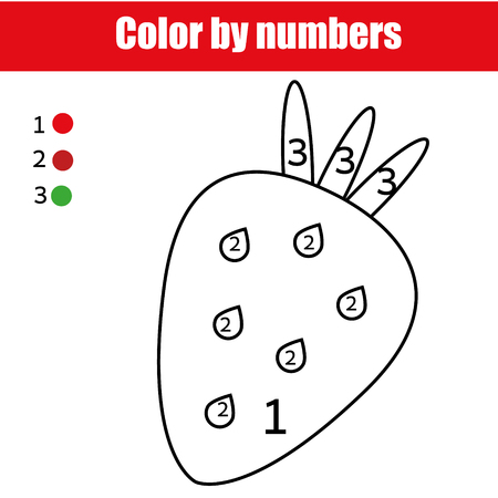 Coloring page with strawberry. Color by numbers educational children game, drawing kids activity, printable sheet. For pre school age