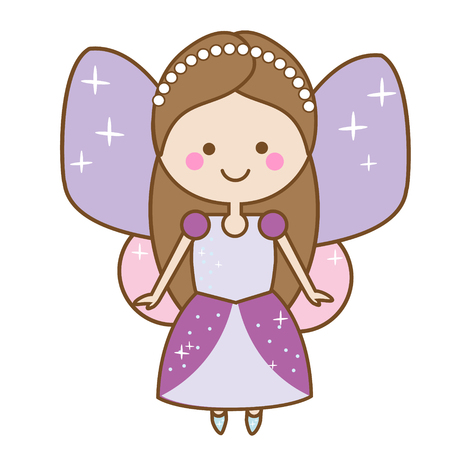 Cute kawaii fairiy character. Winged pixie princess in beautiful dress. Cartoon style, girls kids stickers, children illustration, scrapbook element Illustration