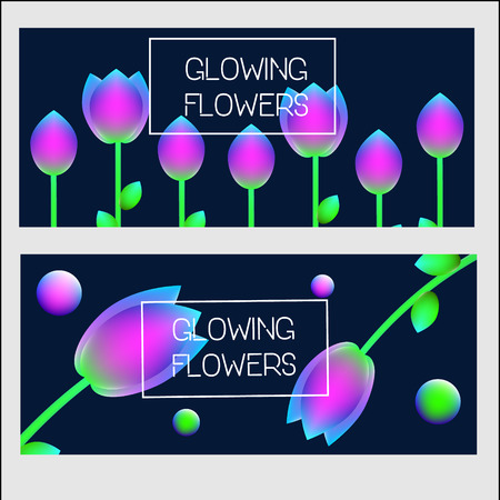 Horizontal banners design template. Vector banners with neon glowing holographic flowers.