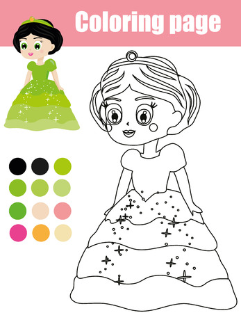 Coloring page with beautiful princess character. Color the picture. Educational children game, drawing kids activity, printable sheet. Illustration