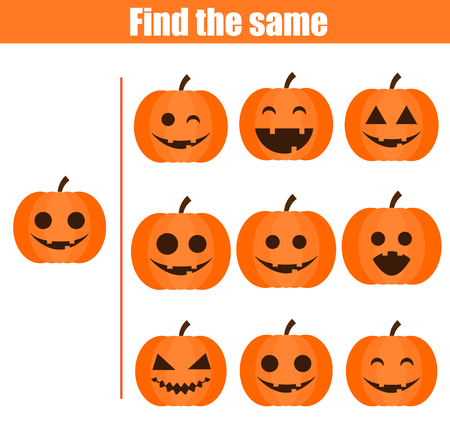 Find the same pictures children educational game. Find equal pairs of halloween pumpkins kids activity.