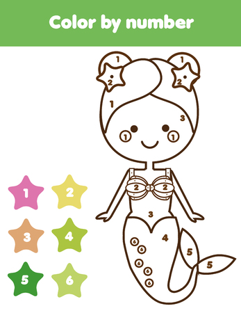 pre: Children educational game. Coloring page with mermaid. Color by numbers, printable activity, worksheet for pre school age