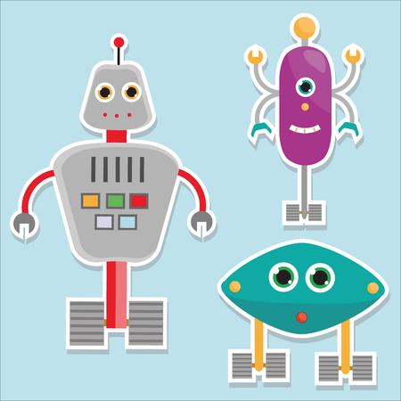 Robots stickers. vector illustration, isolated design elements for kids