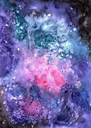 Watercolor galaxy. Space background. Starry Night sky Illustration
