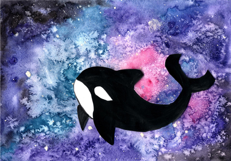 Killer whale floating in watercolor galaxy. Space background.