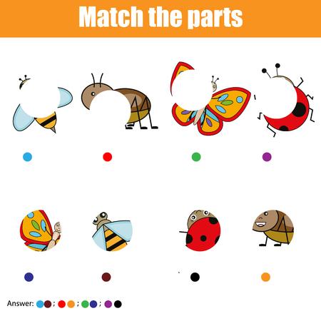 Matching Kinder Lernspiel. Passen Sie Insekten-Teile zusammen. Finde das fehlende Puzzle. Aktivität für Vorschulkinder