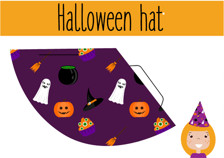 do it: DIY children educational game. Do it yourself handmade creative tutorial for kids. Make a Halloween party hat. Printable Sheet Illustration