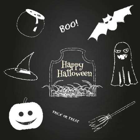 칠판에 할로윈 아이콘입니다. 전통적인 휴가 기호 호박, 유령, 박쥐, 모자 및 기타