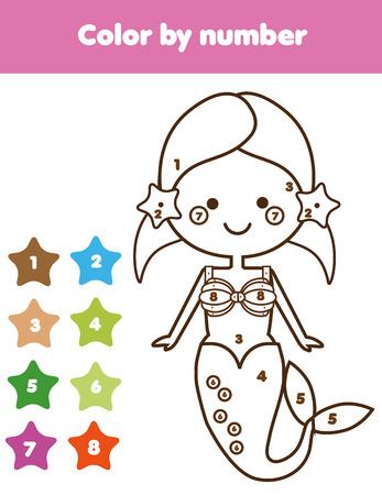 Juegos Educativos Para Niños. Dibujo Para Colorear Con Sirena. Color ...