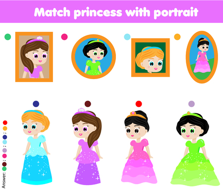 Children educational game. Kids activity. Matching pairs. Find the correct portrait of beautiful princess Vectores