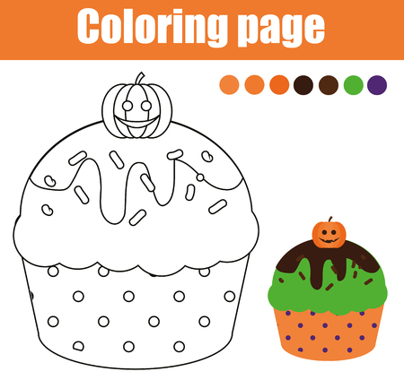 Coloring page with halloween cupcake. Drawing kids activity. printable sheet.