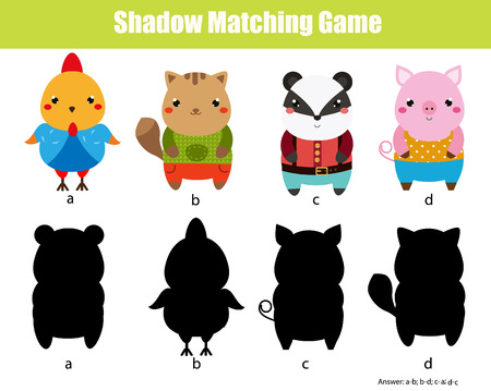 silueta de gato: Shadow matching game for children. Find the right shadow. Activity for preschool kids. Cute animals characters