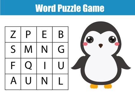 Pädagogische Kinder Spiel. Wortsuche Puzzle Kinder Aktivität. Tiere ...