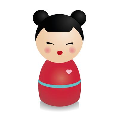 おしゃれなこけし人形。リアルなスタイルに伝統的な日本図。ベクトルのアイコン、分離の設計要素