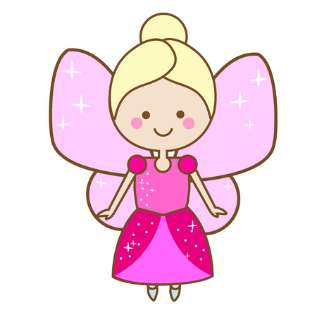 Cute fairy character. Winged elf princess in pink dress. Vector illustration for kids and babies Illustration