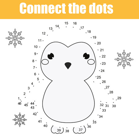 Connect the dots children educational drawing game. Dot to dot by numbers game for kids. Animals theme. Printable worksheet activity with cute penguin