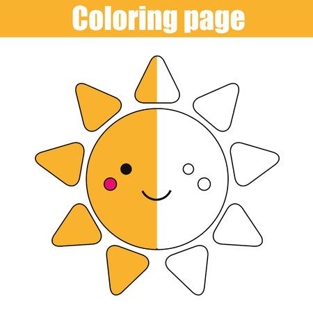 Coloring page with cute smiling sun character. Color the picture drawing activity. Educational game for pre school aged kids, weather theme. Printable kids activity