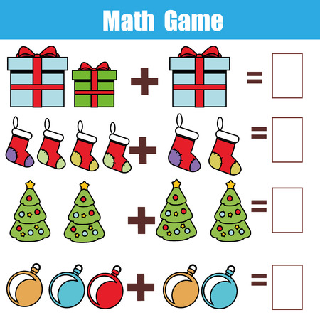 new addition: Counting educational children game, kids activity sheet. How many objects task. Learning mathematics, numbers, addition theme. Christmas, new year winter holidays theme