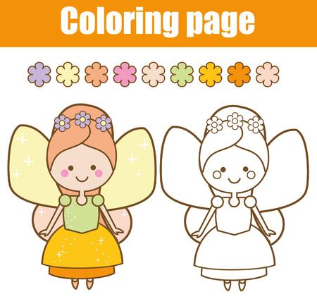 Página Para Colorear Con Linda Hada Voladora Con Varita Mágica De ...