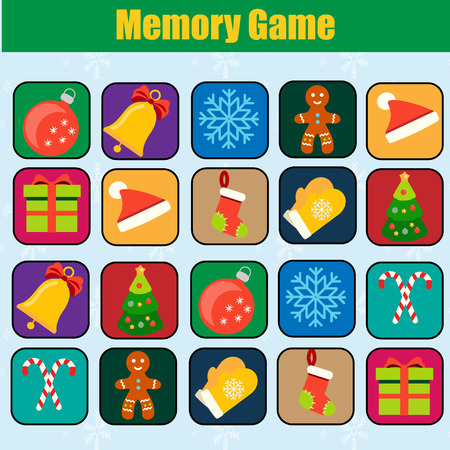 christmas tree illustration: Memory game, Christmas, new year winter holidays theme. Find pairs of same objects. Educational children game, kids activity.