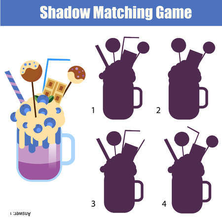 developmental: Shadow matching game for children. For kids preschool and school age. Worksheet, find the correct silhouette for milk shake cocktail