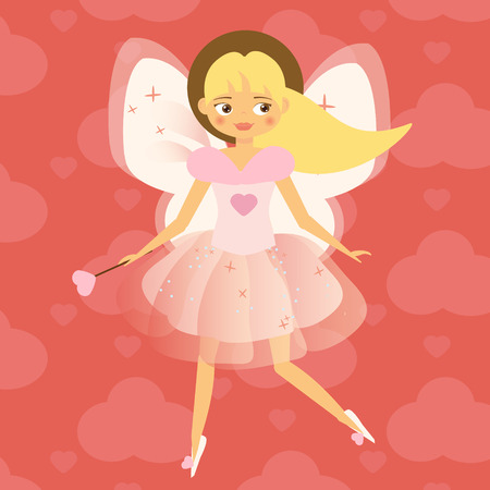 Beautiful Cupid girl with wings in pink. Flying fairy in pink dress holding heart shape magic wand. Valentines day, romantic character. Vector illustration, greeting card